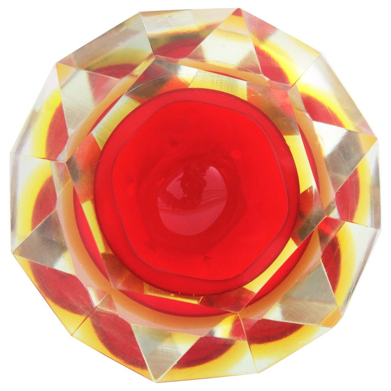 Flavio Poli Murano Red, Yellow and Clear Faceted Glass Diamond Bowl or Ashtray For Sale