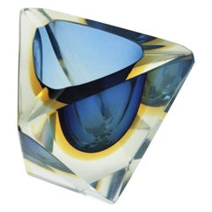 Flavio Poli Murano Sommerso Blue & Yellow Faceted Triangular Glass Ashtray Bowl