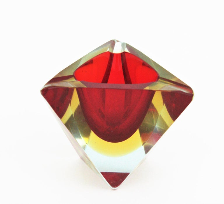 20th Century Flavio Poli Murano Sommerso Red Yellow Faceted Triangular Glass Ashtray / Bowl For Sale
