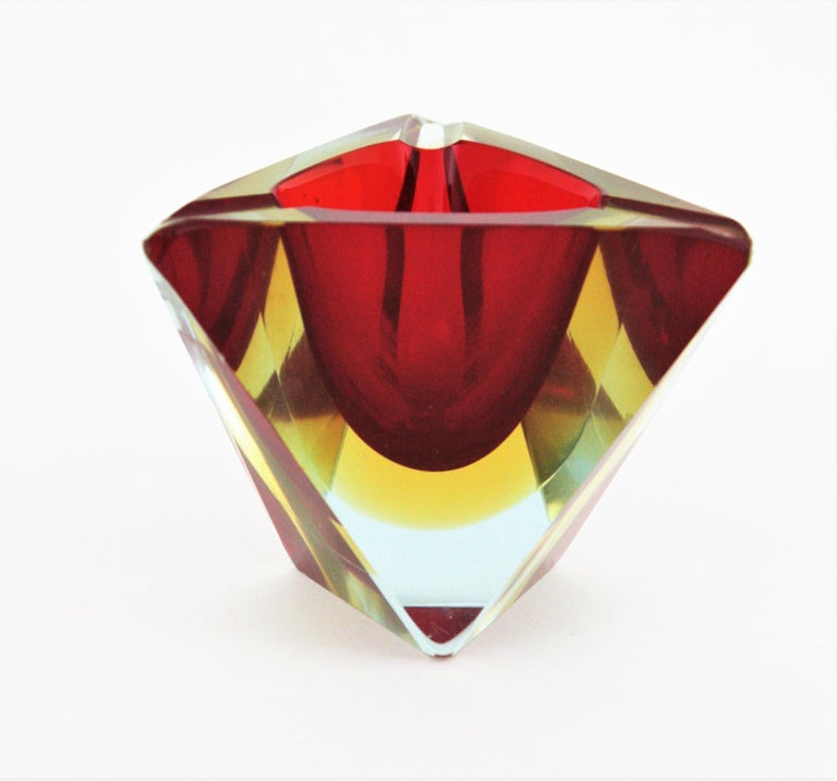 Art Glass Flavio Poli Murano Sommerso Red Yellow Faceted Triangular Glass Ashtray / Bowl For Sale
