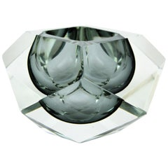 Flavio Poli Murano Sommerso Smoked Grey and Clear Faceted Glass Giant Bowl