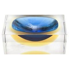 Flavio Poli Murano Square Vide Poche Sommerso Glass Bowl Vintage