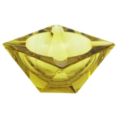 Flavio Poli Murano Yellow Faceted Glass Ashtray