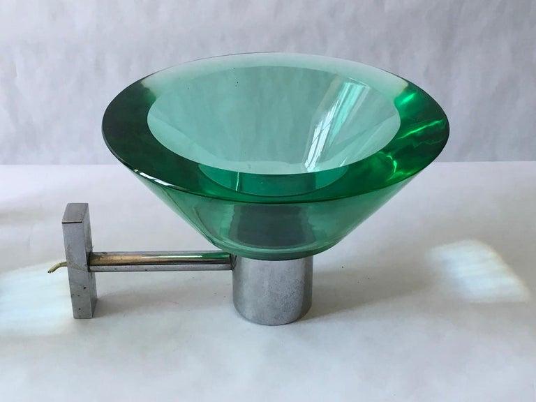 Modern Flavio Poli Pair of Applique Murano Glass Seguso, Italy