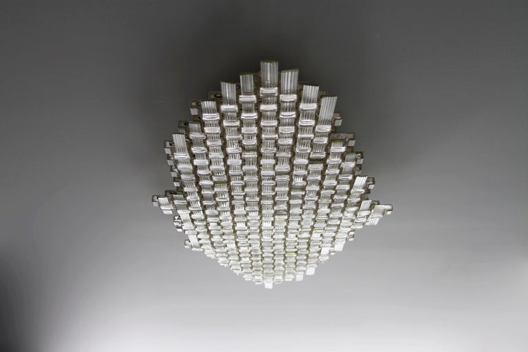 Mid-20th Century Flavio Poli Redesigned Seguso Glass Flush Mount Hotel Bristol, Italy, 1955 For Sale