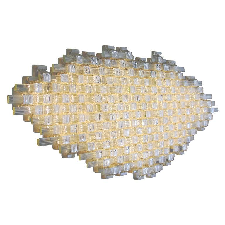 Flavio Poli Redesigned Seguso Glass Flush Mount Hotel Bristol, Italy For Sale