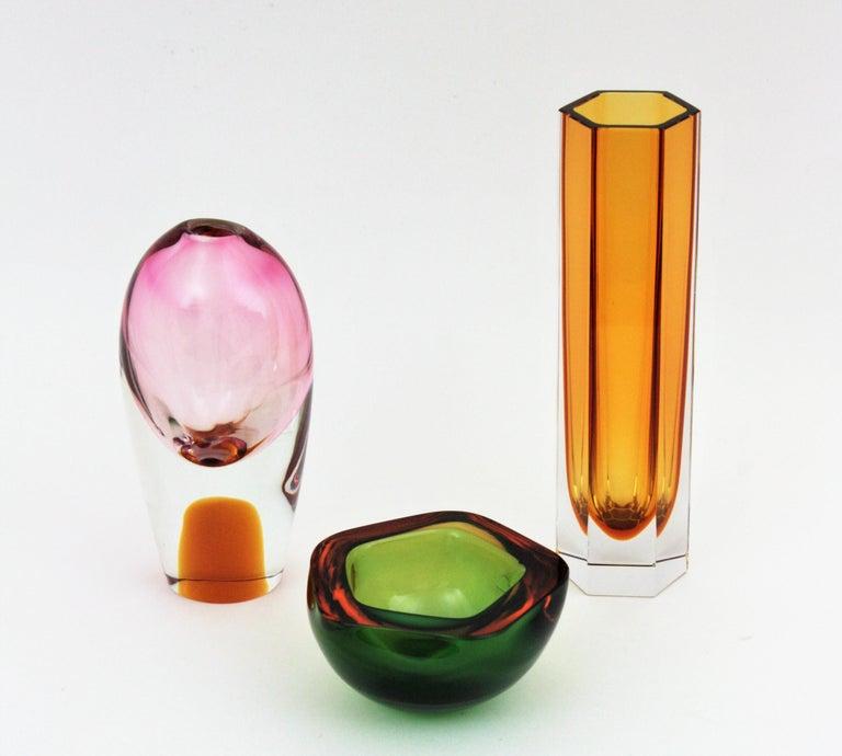 Italian Flavio Poli Seguso Murano Art Glass Sommerso Green Amber Bowl For Sale