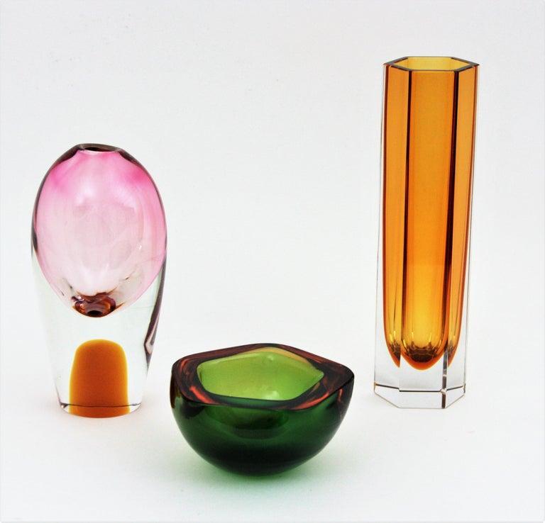 20th Century Flavio Poli Seguso Murano Art Glass Sommerso Green Amber Bowl For Sale
