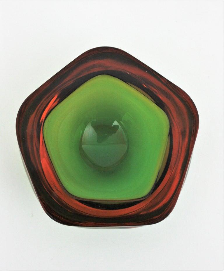 Flavio Poli Seguso Murano Art Glass Sommerso Green Amber Bowl For Sale 1