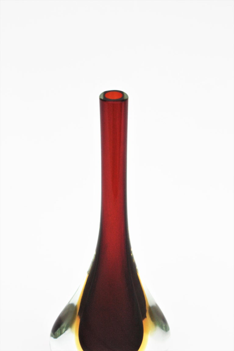 Flavio Poli Seguso Murano Sommerso Red, Yellow & Clear Glass Teardrop Tall Vase For Sale 5