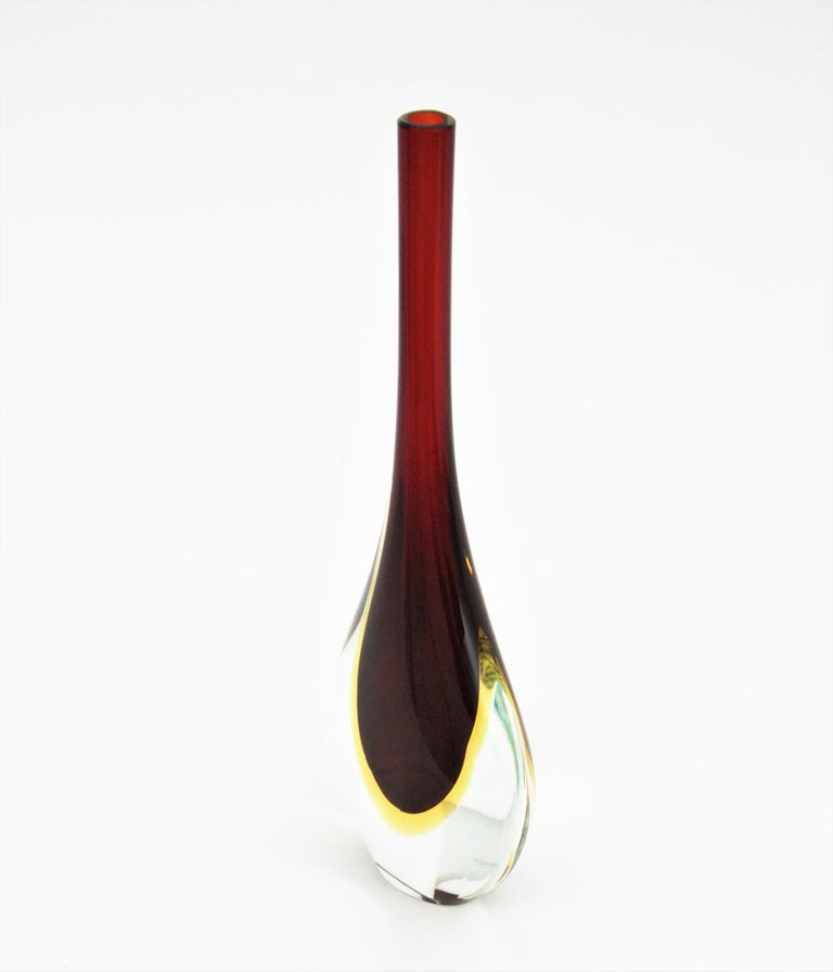 Flavio Poli Seguso Murano Sommerso Red, Yellow & Clear Glass Teardrop Tall Vase For Sale 1