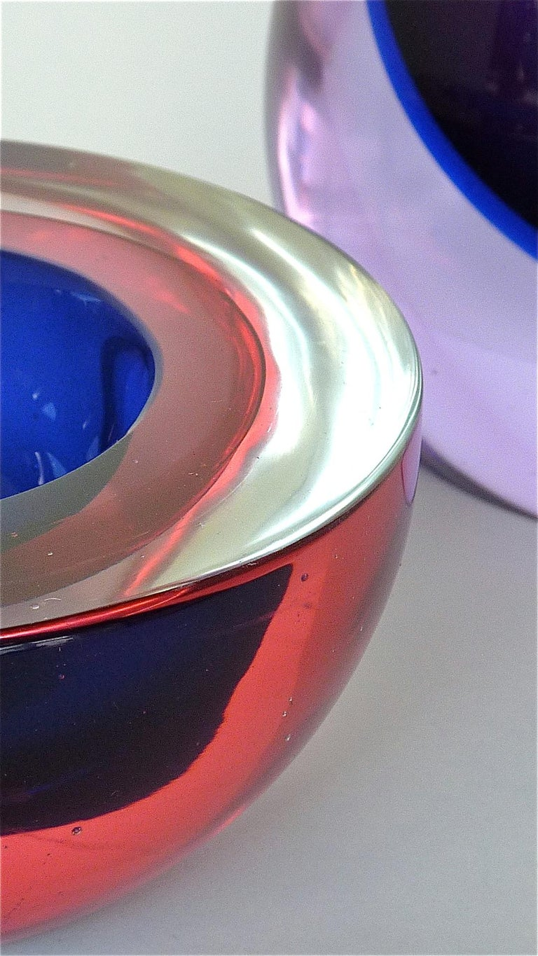 Flavio Poli Seguso Vase and Bowl Purple Pink Blue Murano Art Glass Italy, 1950s For Sale 3