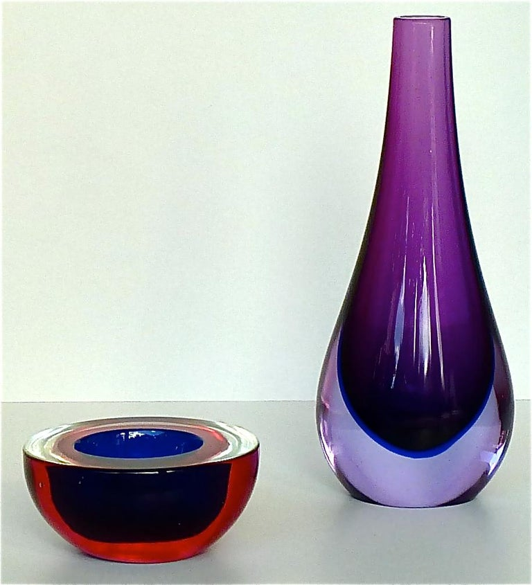 Flavio Poli Seguso Vase and Bowl Purple Pink Blue Murano Art Glass Italy, 1950s For Sale 4