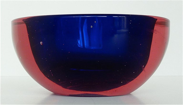 Flavio Poli Seguso Vase and Bowl Purple Pink Blue Murano Art Glass Italy, 1950s For Sale 5
