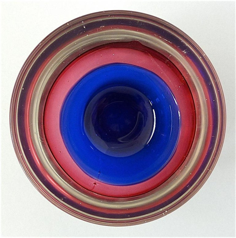 Flavio Poli Seguso Vase and Bowl Purple Pink Blue Murano Art Glass Italy, 1950s For Sale 7