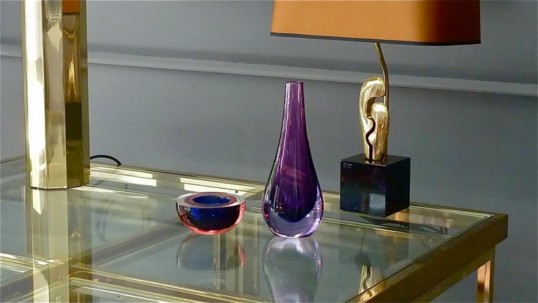 Flavio Poli Seguso Vase and Bowl Purple Pink Blue Murano Art Glass Italy, 1950s For Sale 9