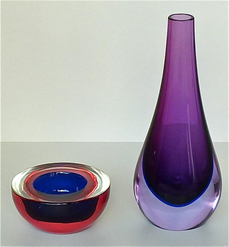 Flavio Poli Seguso Vase and Bowl Purple Pink Blue Murano Art Glass Italy, 1950s For Sale 10
