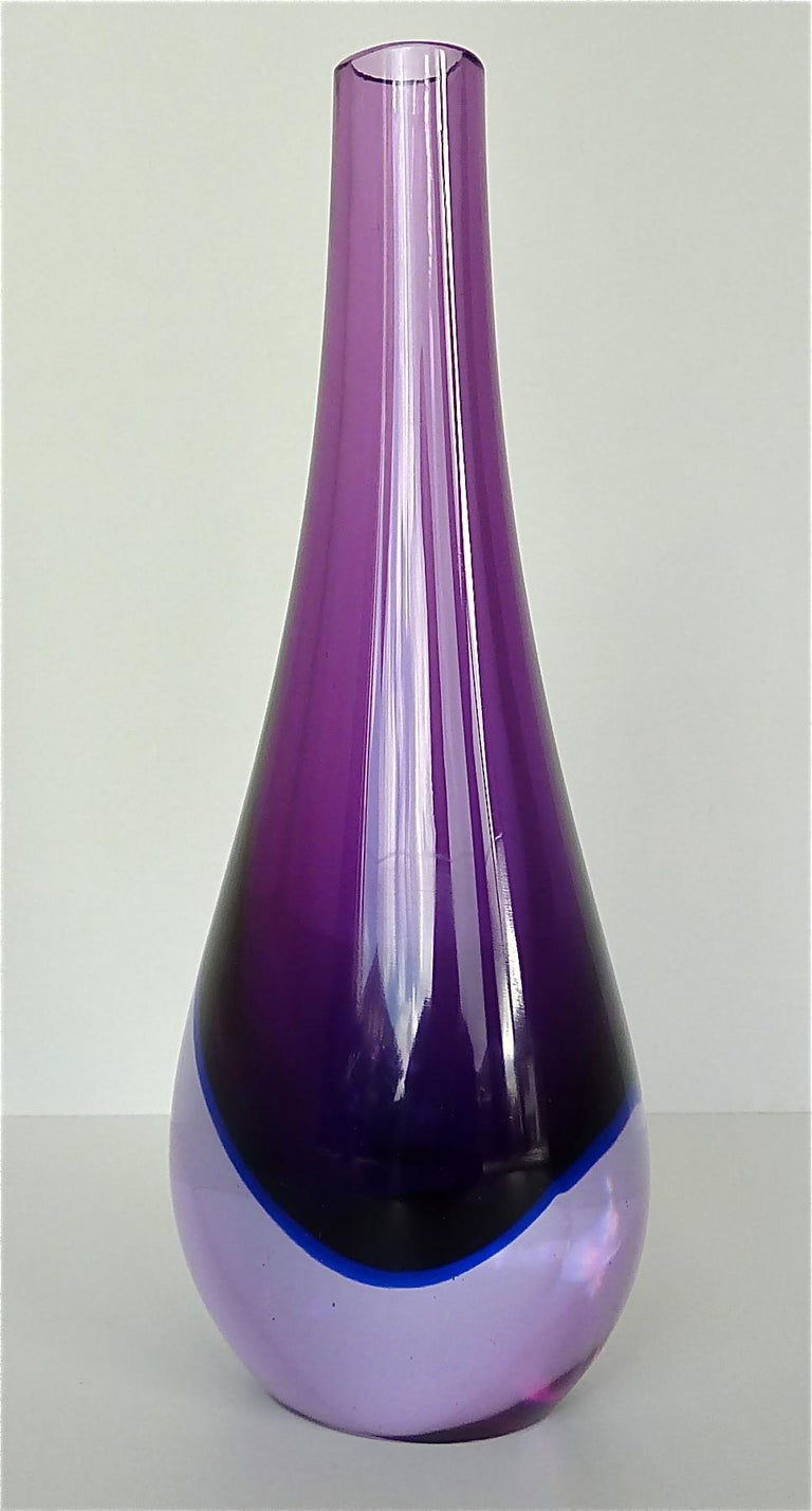 Italian Flavio Poli Seguso Vase and Bowl Purple Pink Blue Murano Art Glass Italy, 1950s For Sale