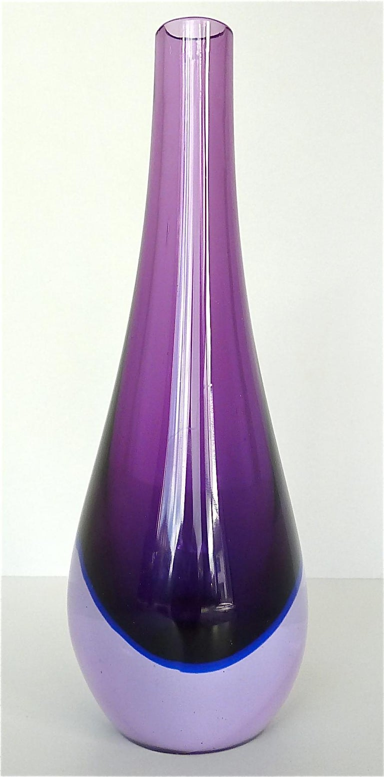 Hand-Crafted Flavio Poli Seguso Vase and Bowl Purple Pink Blue Murano Art Glass Italy, 1950s For Sale