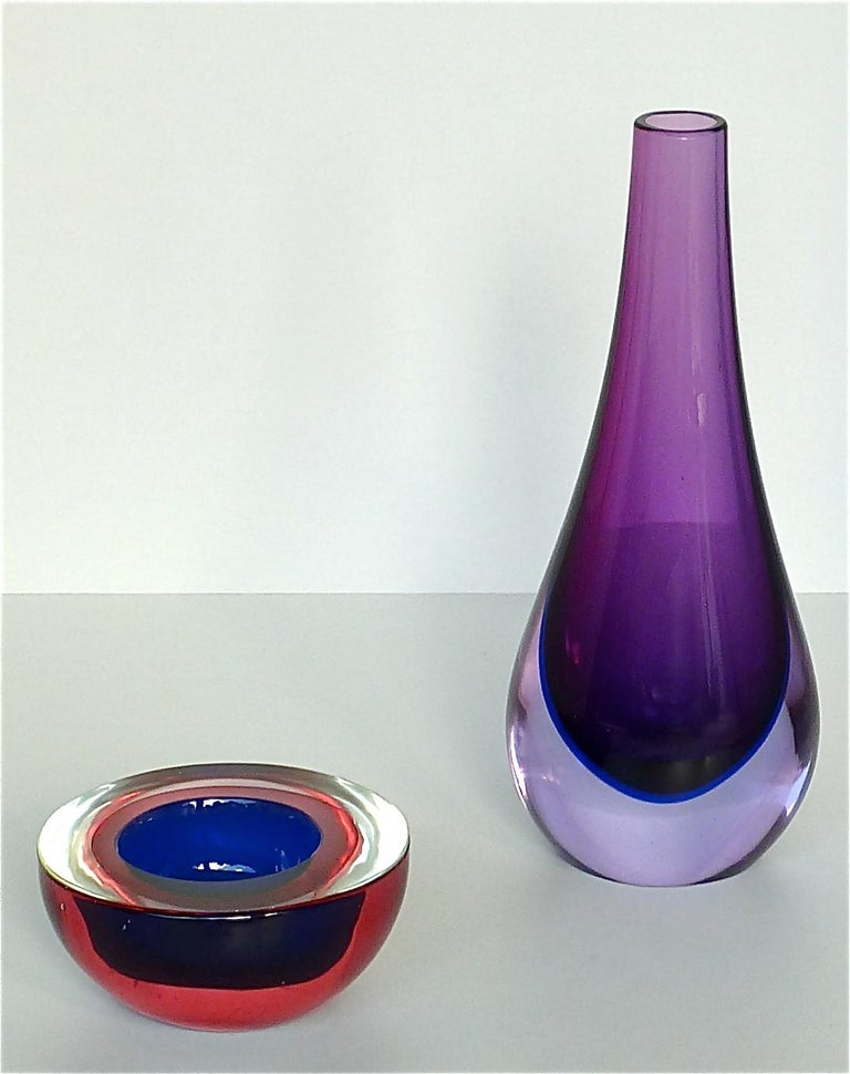 Flavio Poli Seguso Vase and Bowl Purple Pink Blue Murano Art Glass Italy, 1950s For Sale 2
