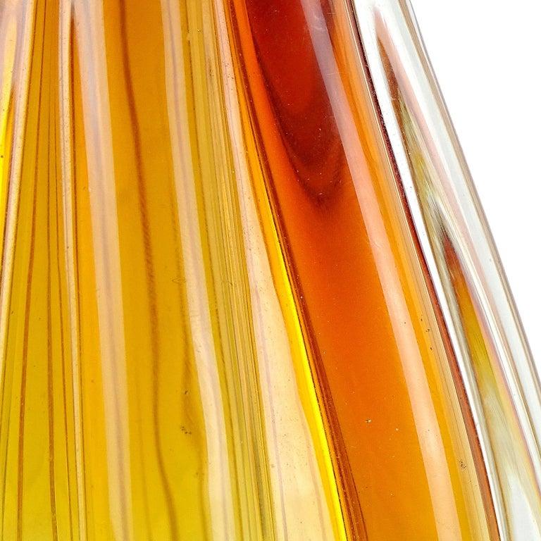 Hand-Crafted Flavio Poli Seguso Vetri d'Arte Murano Sommerso Orange Italian Art Glass Vase For Sale