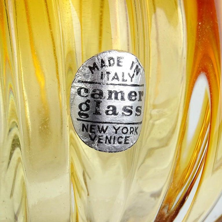 Flavio Poli Seguso Vetri d'Arte Murano Sommerso Orange Italian Art Glass Vase In Good Condition For Sale In Kissimmee, FL