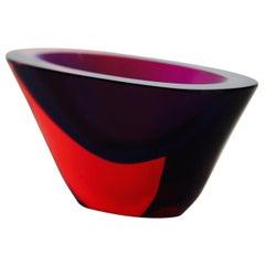 Flavio Poli Small Red Blue Purple Sommerso Vase