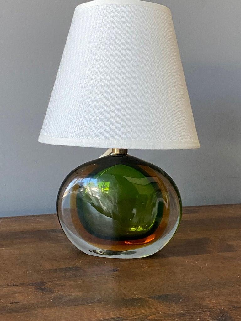 Mid-Century Modern Flavio Poli, Small Table Lamp, Murano Glass, Brass, Fabric, Seguso Italy, 1950s For Sale