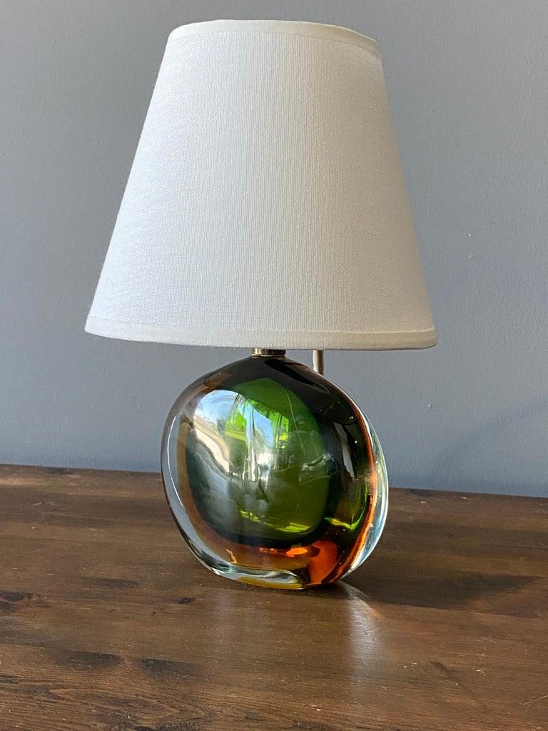 Italian Flavio Poli, Small Table Lamp, Murano Glass, Brass, Fabric, Seguso Italy, 1950s For Sale