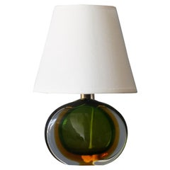 Flavio Poli, Small Table Lamp, Murano Glass, Brass, Fabric, Seguso Italy, 1950s