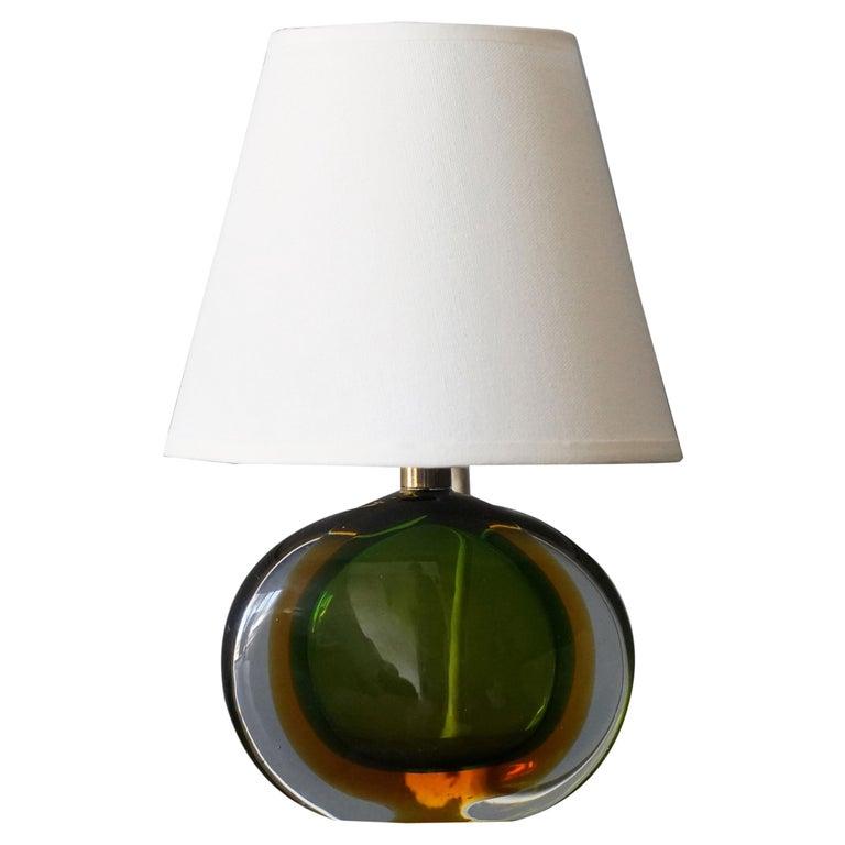Flavio Poli, Small Table Lamp, Murano Glass, Brass, Fabric, Seguso Italy, 1950s For Sale