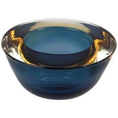 "Flavio Poli ""Sommerso"" Amber Blue Murano Glass Italian Ashtray or Bowl, 1960"
