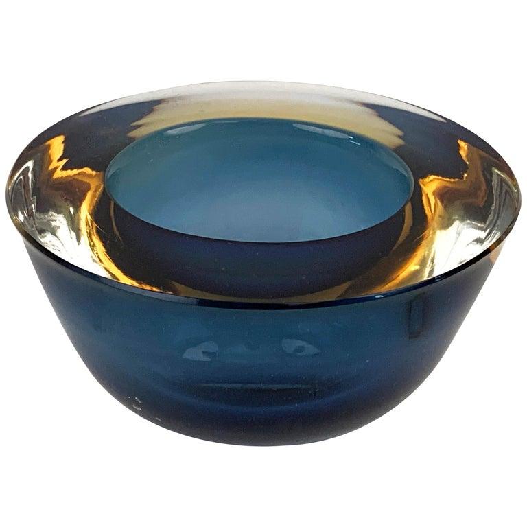 "Flavio Poli ""Sommerso"" Amber Blue Murano Glass Italian Ashtray or Bowl, 1960 For Sale"
