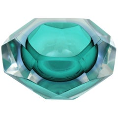 Flavio Poli Sommerso Green and Blue Diamond Shaped Faceted Murano Glass Bowl