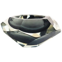 Flavio Poli Sommerso Smoked Grey & Clear Faceted Diamond Shape Murano Glass Bowl