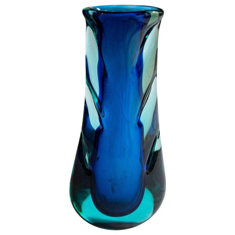 Flavio Poli Sommerso Vase Glass Seguso Murano, Italy, 1960s For Sale