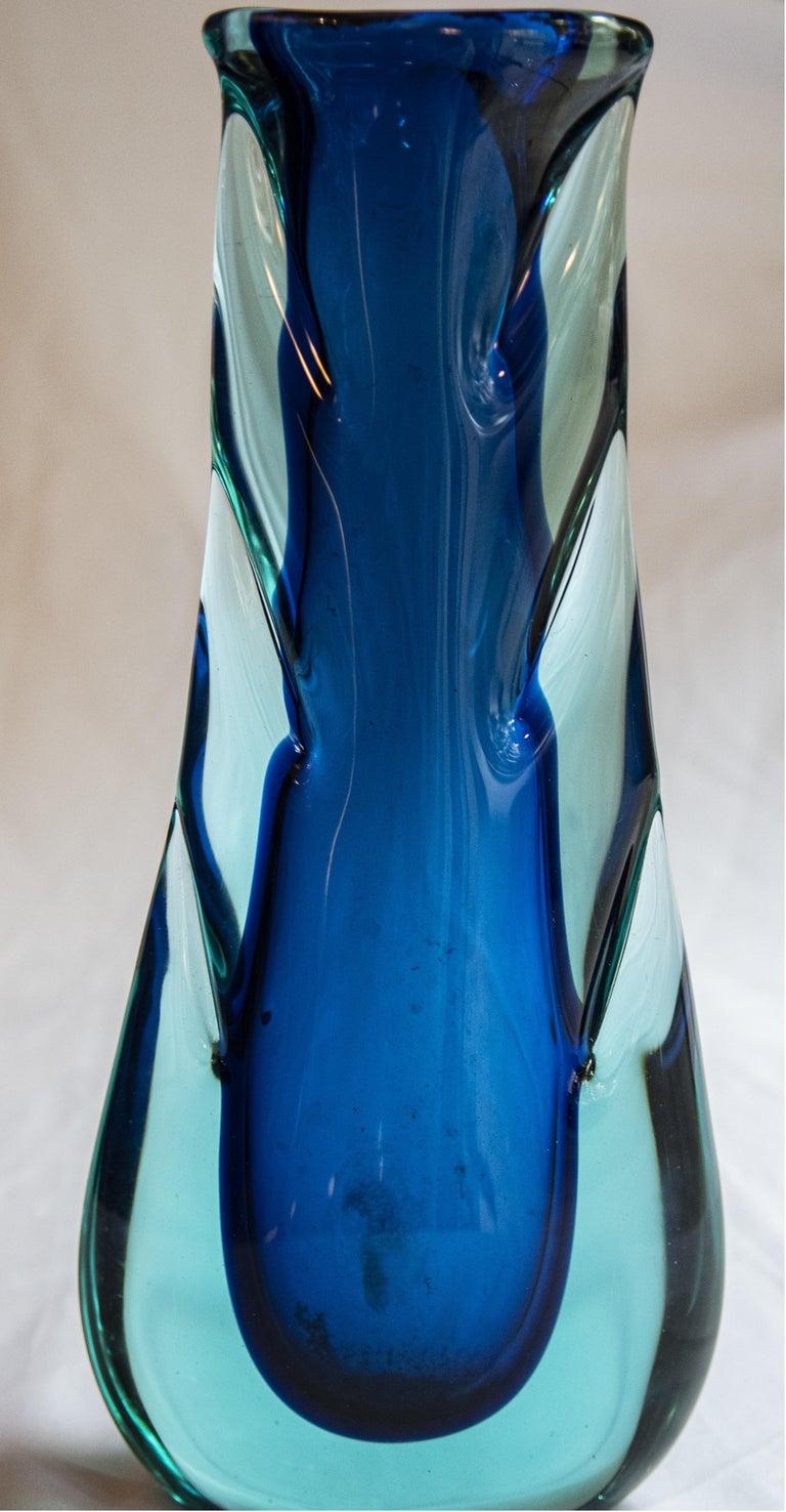 Beautiful Blue Flavio Poli Sommerso vase glass. Murano, Italy, 1960s.