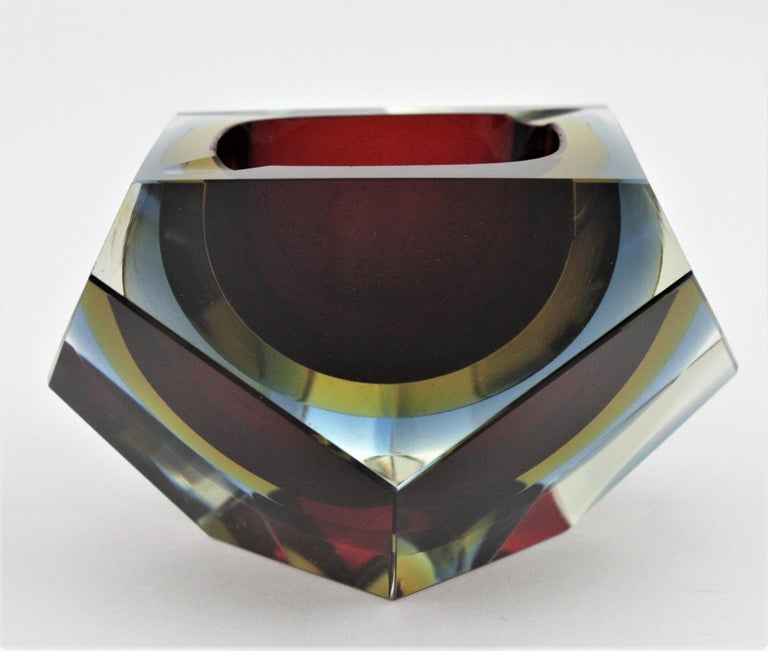 Art Glass Flavio Poli XXL Red, Yellow & Blue Sommerso Faceted Murano Glass Ashtray / Bowl For Sale