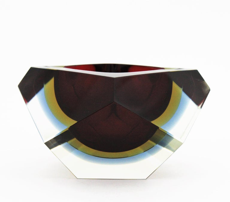 Flavio Poli XXL Red, Yellow & Blue Sommerso Faceted Murano Glass Ashtray / Bowl For Sale 2