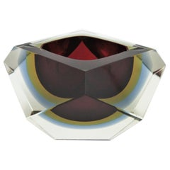Flavio Poli XXL Red, Yellow & Blue Sommerso Faceted Murano Glass Ashtray / Bowl