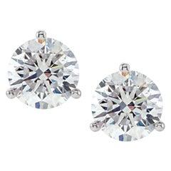 GIA Certified 3.40 Carat Round Diamond Studs D Color VVS2 Triple Excellent Cut
