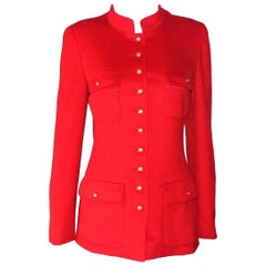 Chanel Red Cashmere Mandarin Chinese Collar Signature Jacket Blazer