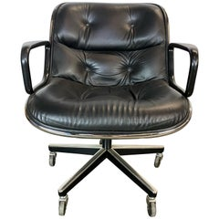 Flawless Charles Pollock Leather Desk Office Chair for Knoll