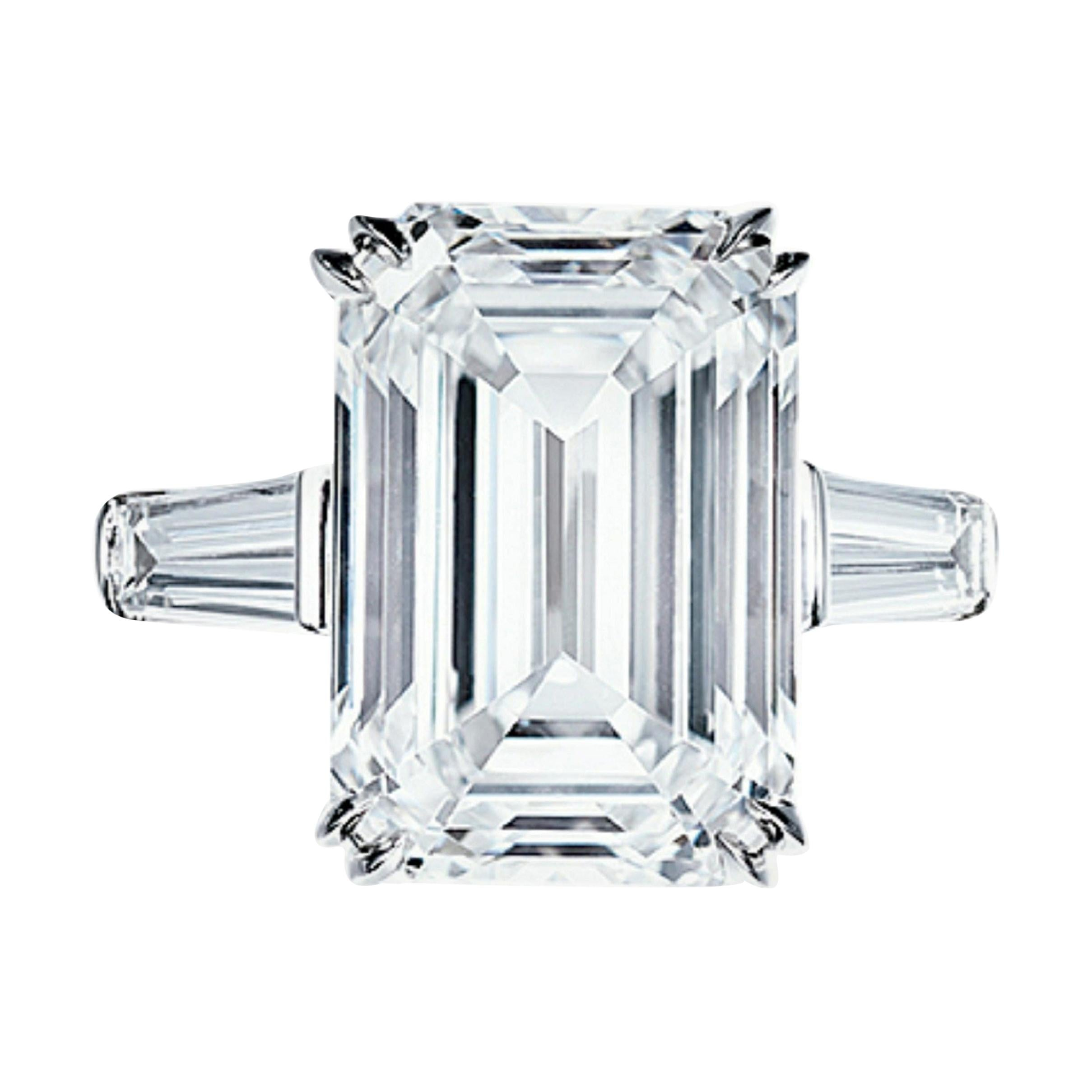Flawless Clarity GIA Certified 5.65 Carat Emerald Cut Diamond Platinum Ring