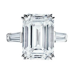 Flawless Clarity GIA Certified 5.65 Carat Emerald Cut Diamond Platinum Ring