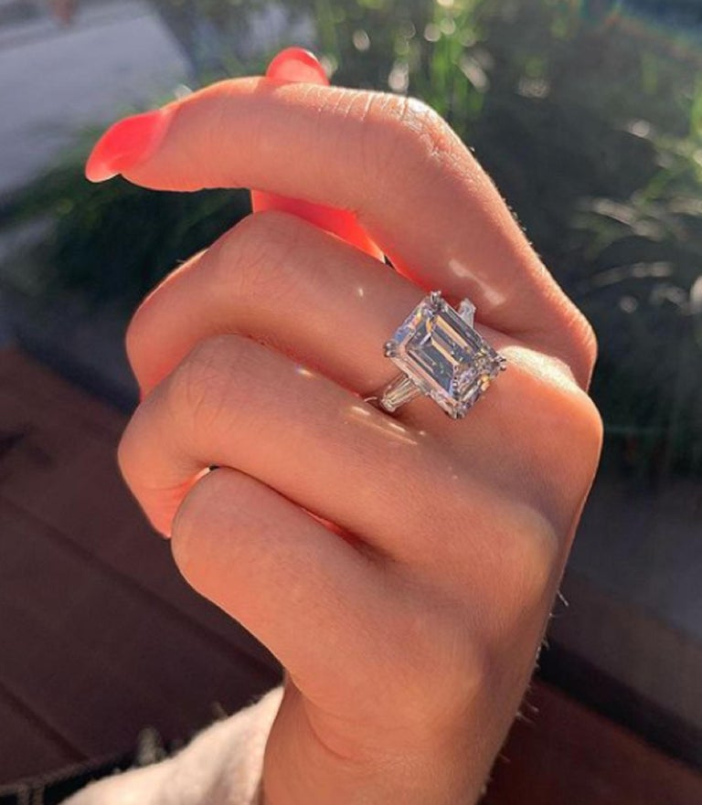 An exquisite investment grade emerald cut diamond ring with perfect proportions FLAWLESS clarity and D color with excellent polish and excellent symmetry.  This ring has been handmade in Italy and is mounted in solid platinum