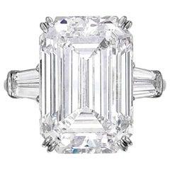 Flawless Clarity GIA Certified 5.75 Carat Emerald Cut Diamond Platinum Ring