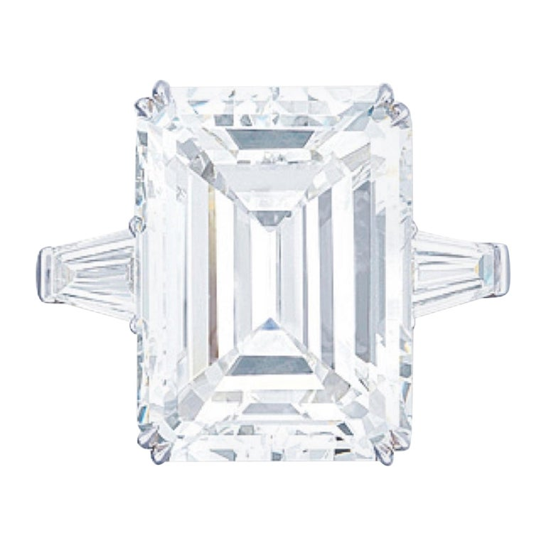 Flawless Clarity GIA Certified 5.65 Carat Emerald Cut Diamond Platinum Ring For Sale
