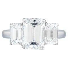 Flawless Color GIA Certified 4 Carat 'Main Stone' Emerald Cut Diamond Ring