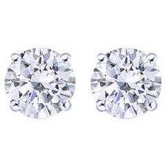 I Flawless D/E Color GIA Certified 2.37 Carat Diamond Studs